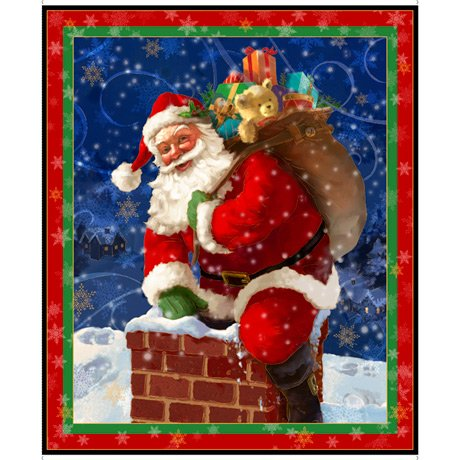 Xmas Panel 95 cm- Father Christmas And Chimney