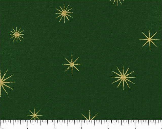 Merry Christmas Metallics - Gold Snowflakes on Green