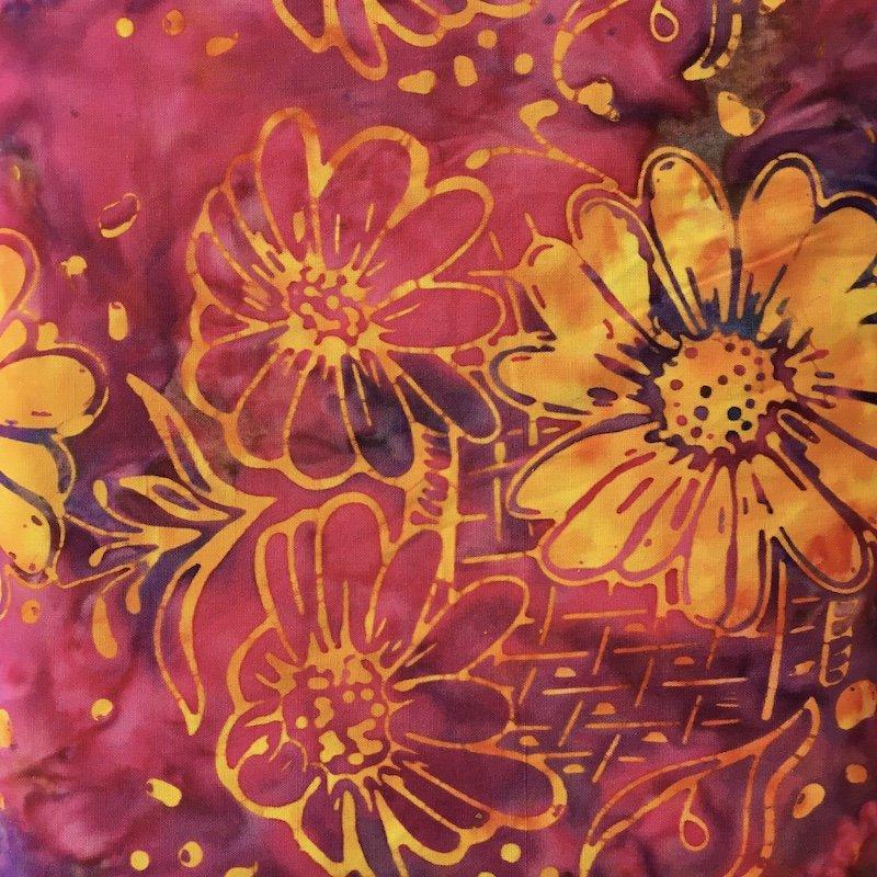 Anthology Batik - Magenta Gold Floral Print