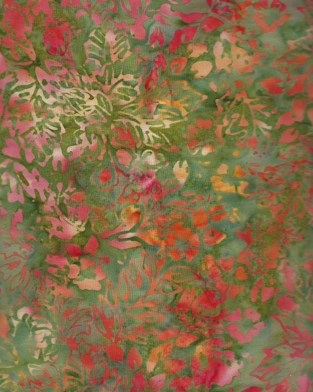 Anthology Batik - Coral Gold & Green Print