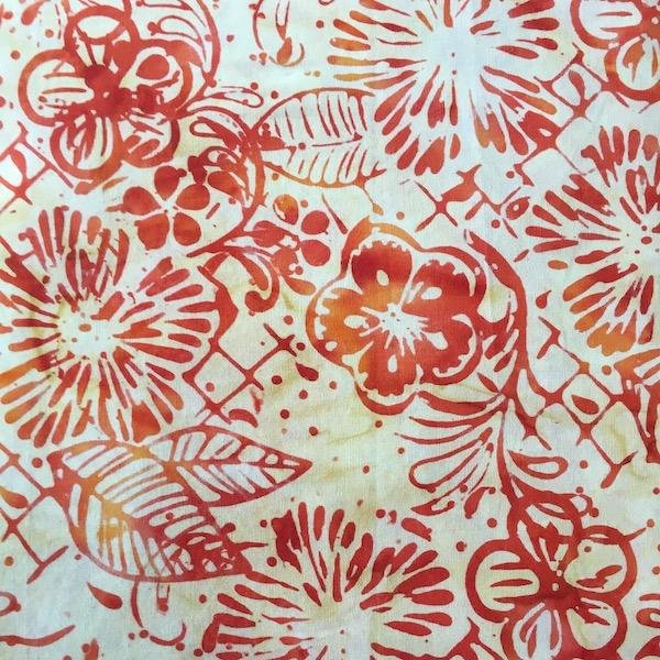 Anthology Batik - Orange & Cream Floral Print