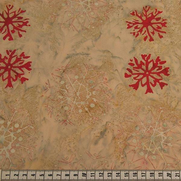 Anthology Batik - Cream & Red Snowflake