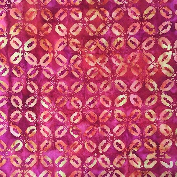 Anthology Batik - Deep Coral & Gold Print