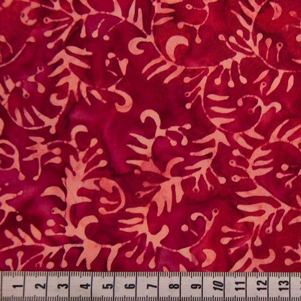 Anthology Batik - Deep Magenta Leaf Print