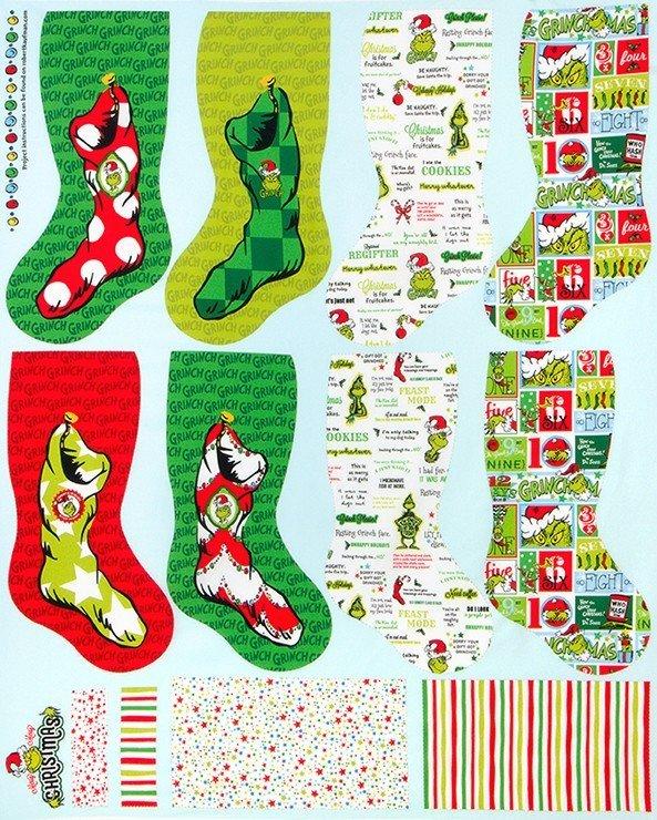 Grinch Xmas Stockings Panel