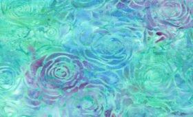 Batik - Green/Lilac Roses - 108 Wide
