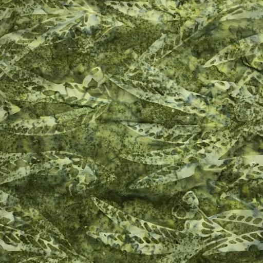 Batik - Olive Green Leaves - 108 Wide