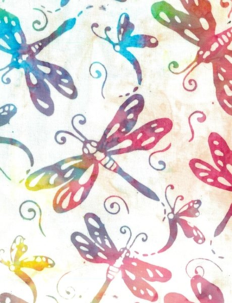 Batik - Dragonflies on White - 108 Wide