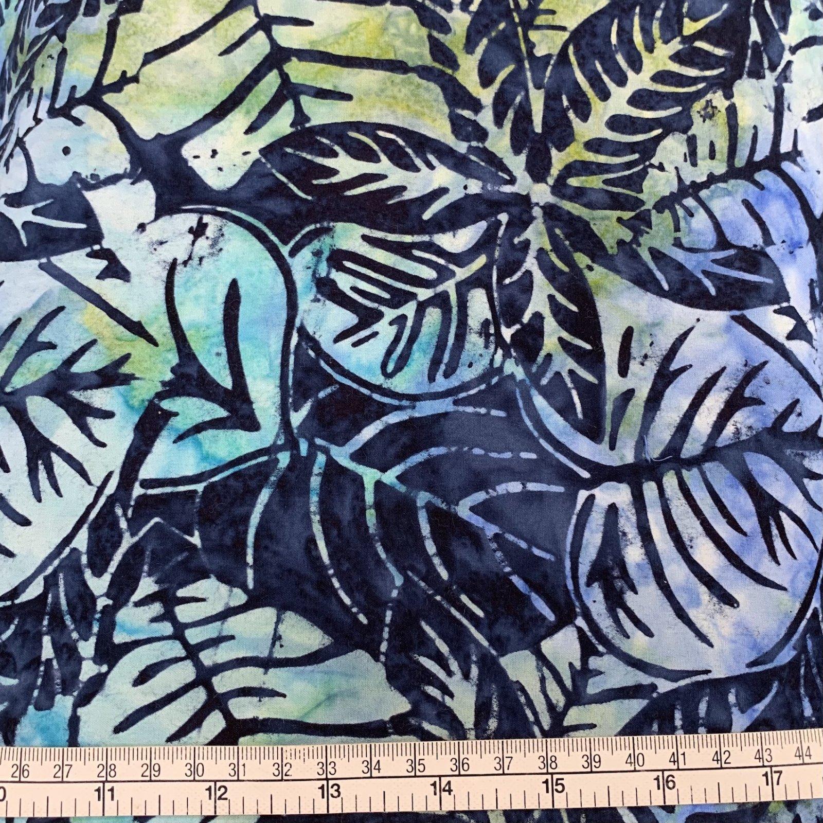 Batik - Large Blue/Green Leaf - 108 Wide