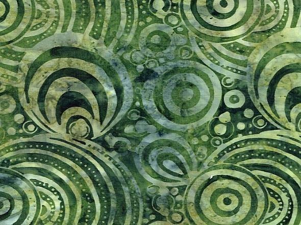 Batik - Deep Green Circles - 108 Wide
