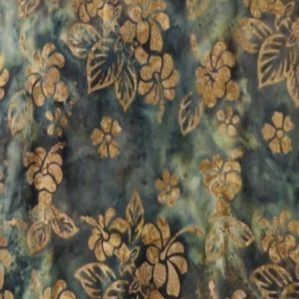 Batik Gold Hibiscus 108 inch wide