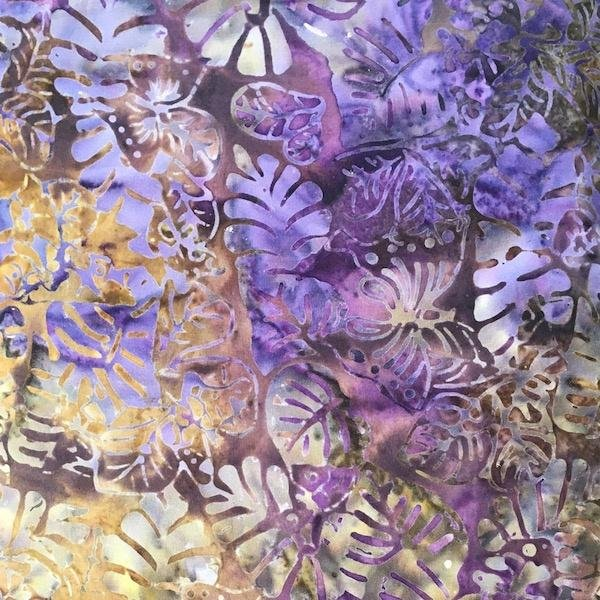 Batik - Purple Leaves - 108 Wide