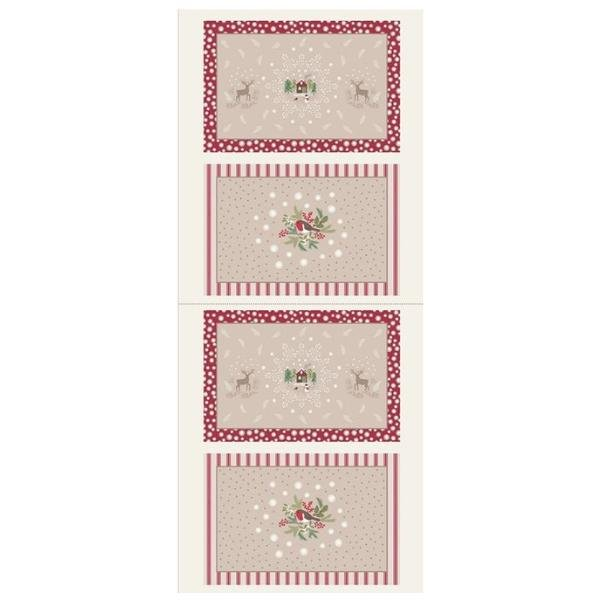 Christmas Placemats Panel - Red/Ecru