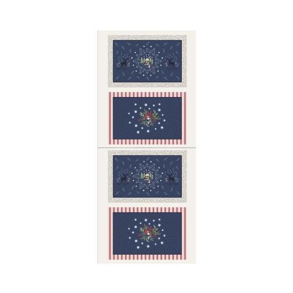 Christmas Placemats Panel - Blue/Ecru
