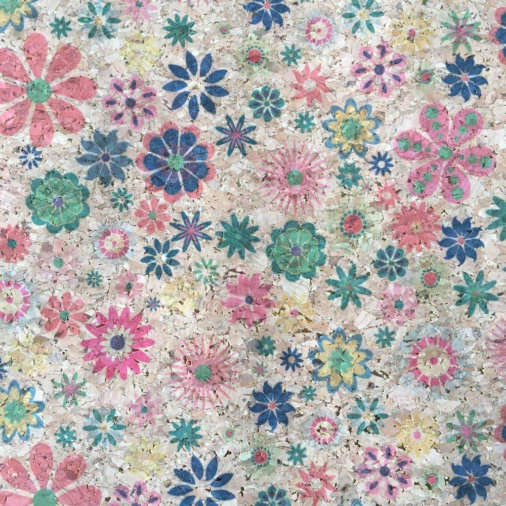 Cork - Metallic Flowers PRE-CUT