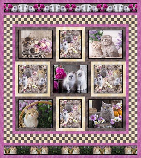 Lovable Kittens - Pink Quilt Pattern