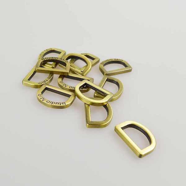 20mm D Rings Flat - Antique Brass
