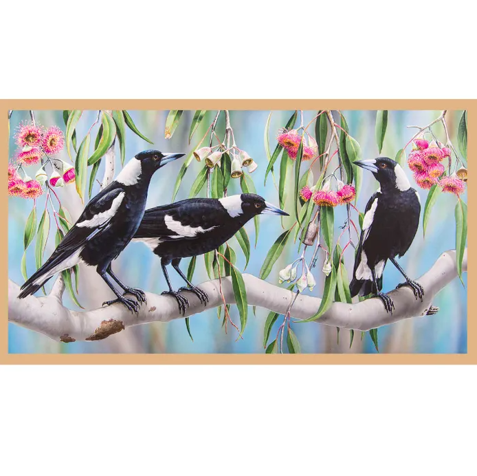 Wildlife Art - Magpies No 3 Panel