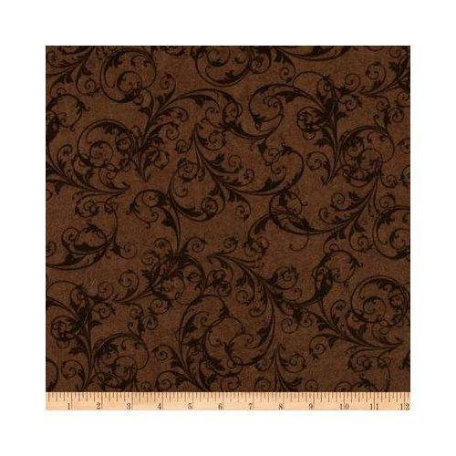 Flourish Scrolls Brown 108 Wide