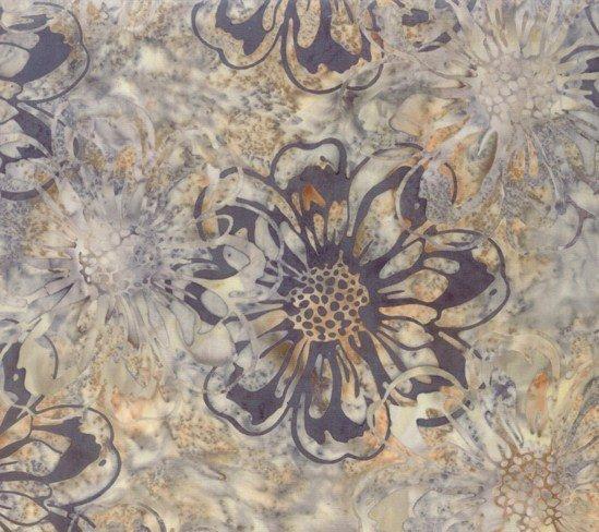 Bali Batiks - Large Floral Print Granite