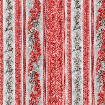 Holiday Flourish 9 - Silver & Red Stripe