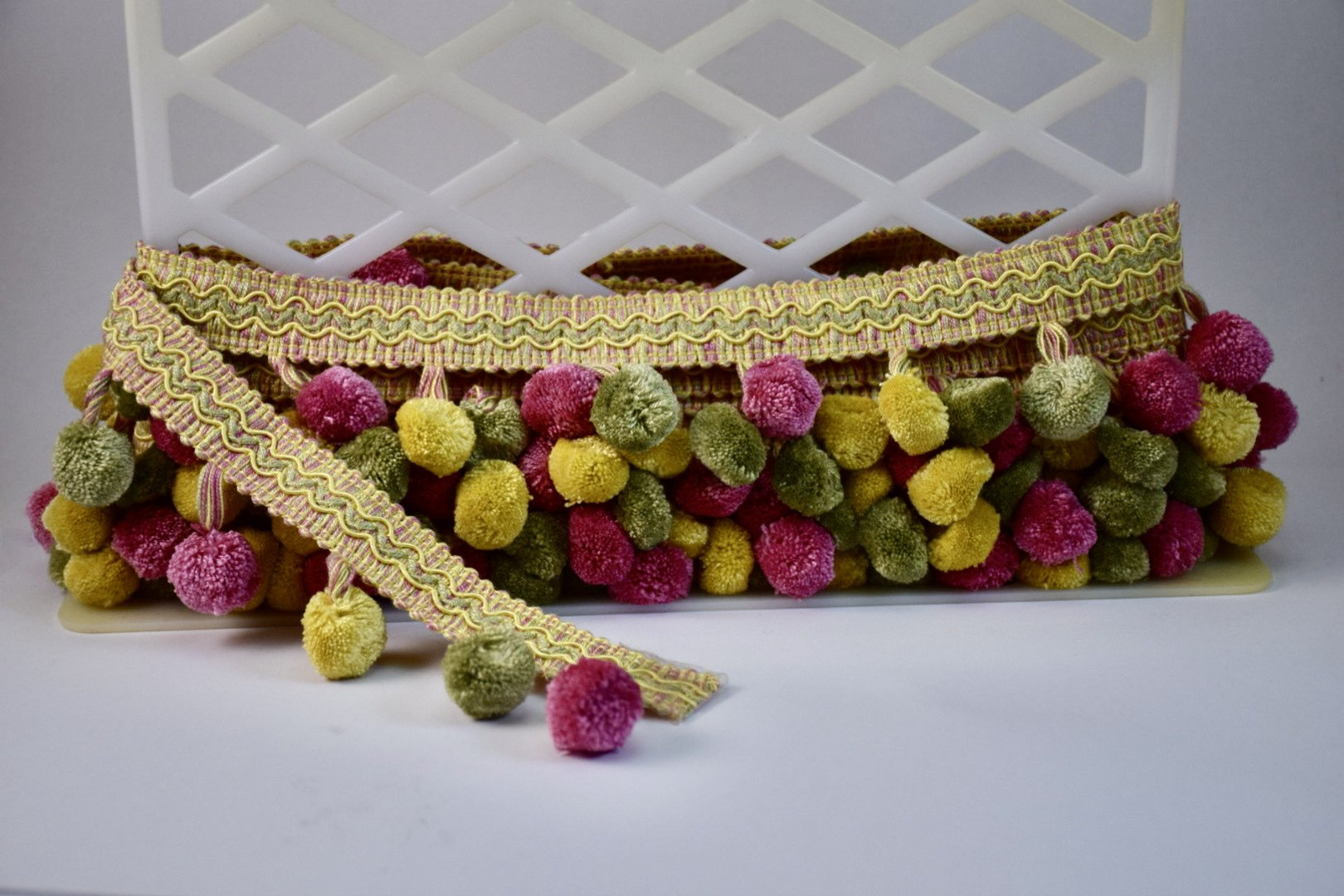 Classic Ball Fringe - Pink, Green and Yellow