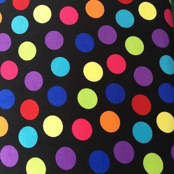 Large Polka Dots - Rainbow on Black