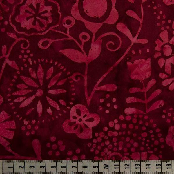 Bali Batiks - Floral - Red Velvet