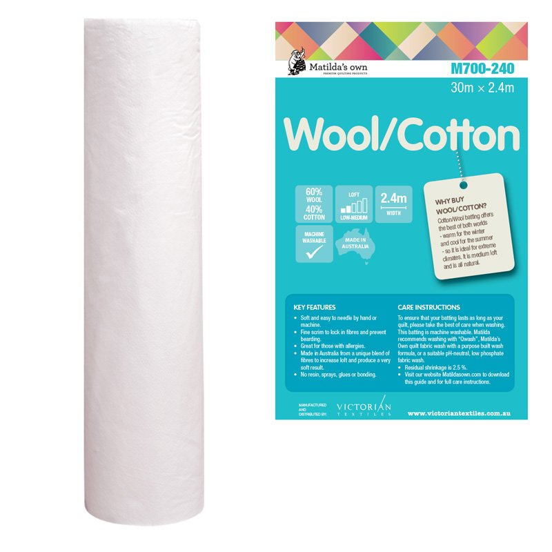 Wool/Cotton Wadding 2.4m wide