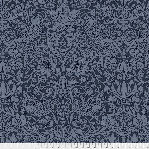 Morris & Co Strawberry Thief - Navy - 108 Wide