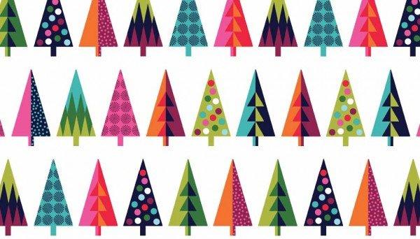 Multi Colour Christmas Tree Print