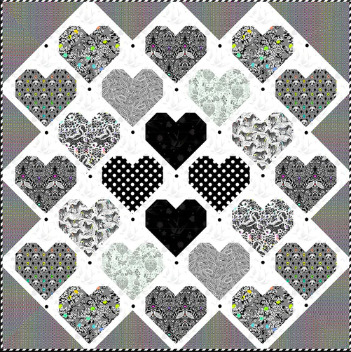 Retro Hearts Quilt - FREE Download