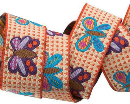 Butterflies on Orange and Cream Ribbon
