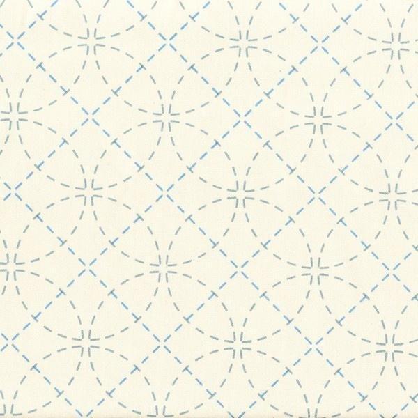 Stencilled Sashiko Fabric Interlocking Circles Ecru