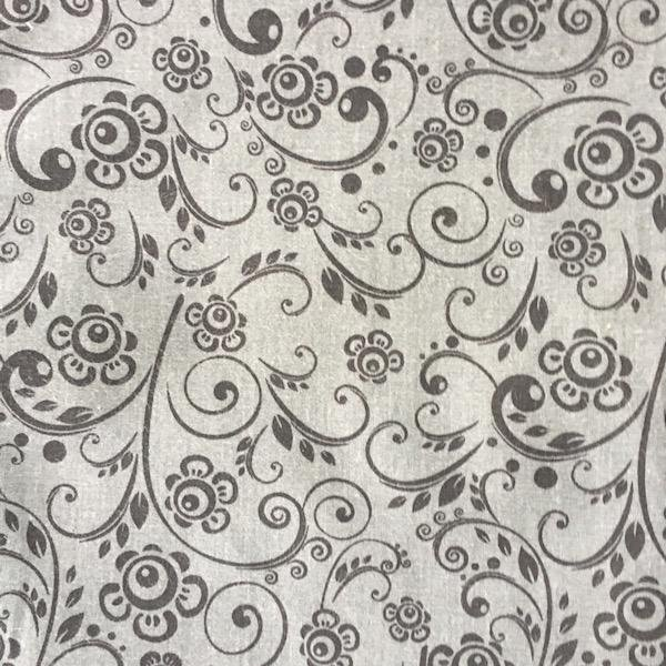 Floral Swirl - Dk Grey - 3 metre Pre-Cut