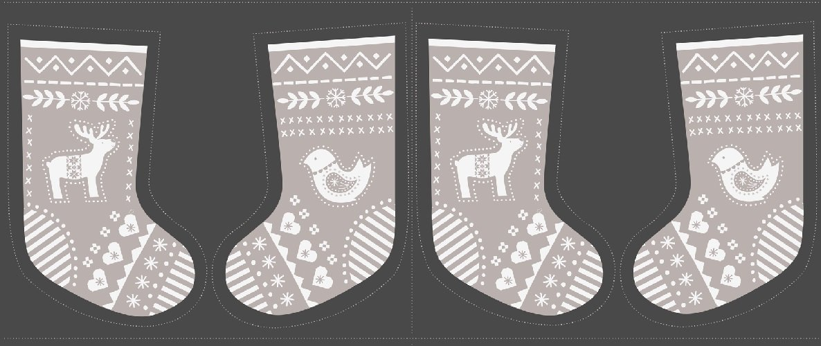 When I Met Santa's Reindeer Christmas Stocking Panel