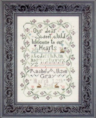 Sweet Baby Sampler counted cross stitch pattern