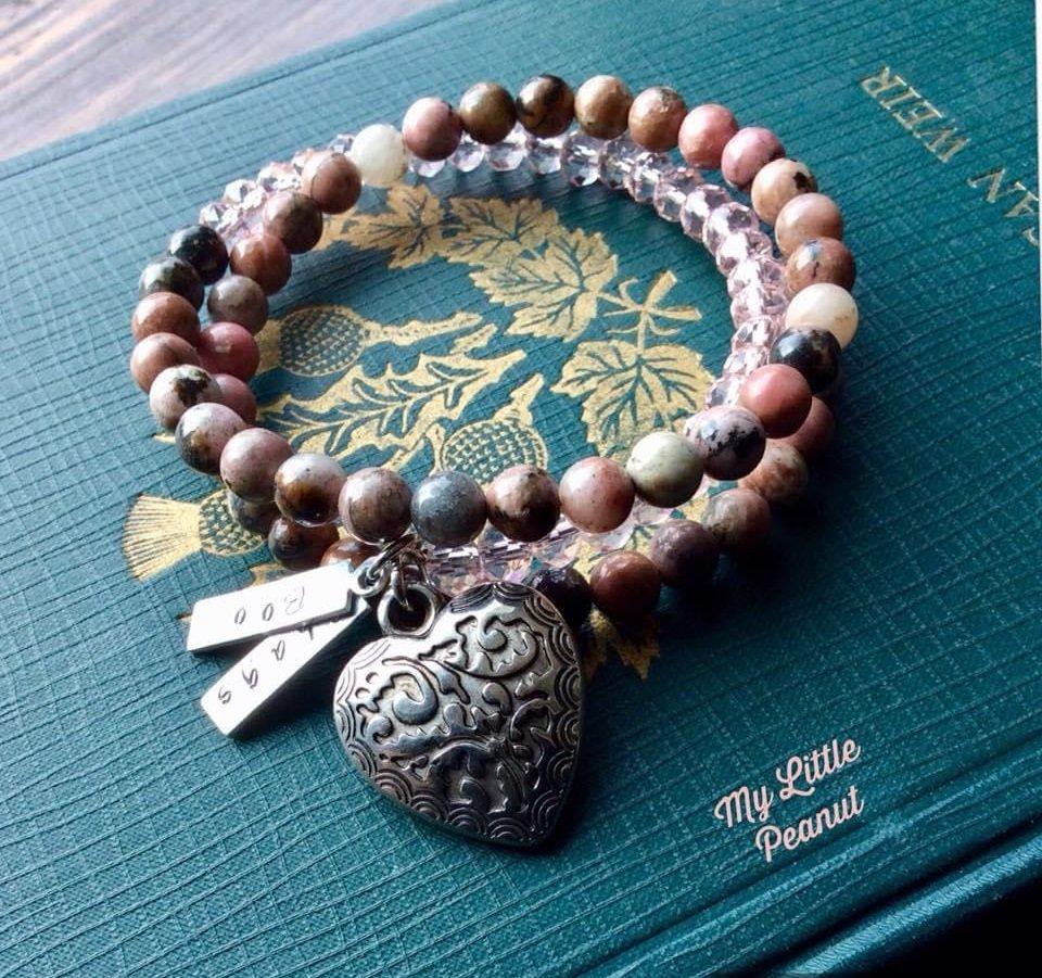 Beaded Bracelet with Heart Pendant