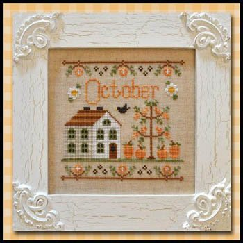 October Cottage counted cross stitch pattern