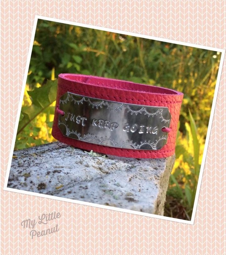Just Keep Going Leather Cuff - Pink 7