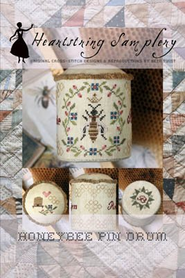 Honey Bee Pin Drum counted cross stitch pattern