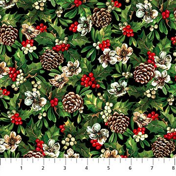 HAY....... It's Christmas! by Russell Cobane for Northcott - Holly & Pinecones # 24105-99