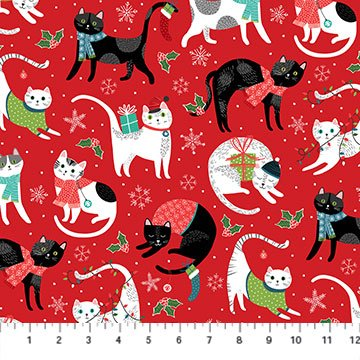 Santa Paws by Deborah Edwards for Northcott Red Cats # 24150-24