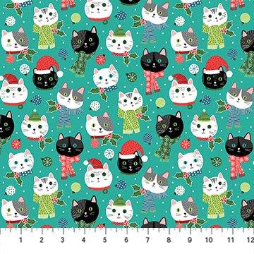 Santa Paws by Deborah Edwards for Northcott Teal  Cats # 24151-64