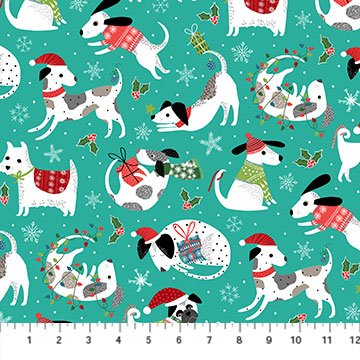 Santa Paws by Deborah Edwards for Northcott Teal  Dogs # 24152-64
