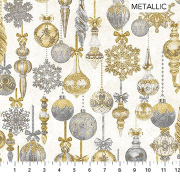STONEHENGE White Christmas by Linda Ludovico for Northcott Baubles Neutral Gold # 24202M-11