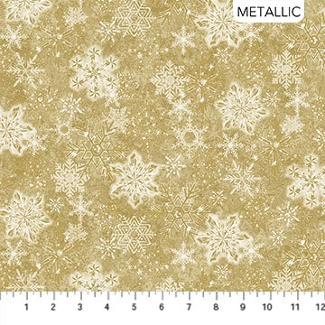 STONEHENGE White Christmas by Linda Ludovico for Northcott Snowflakes Gold # 24205M-12