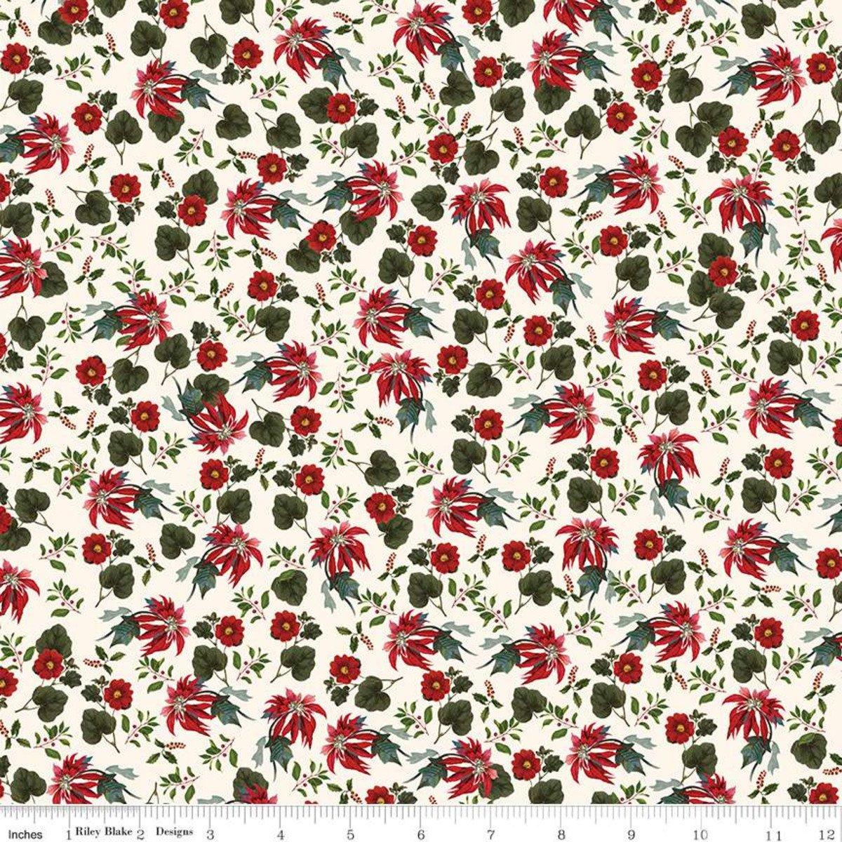 Yuletide Poinsettias Cream #RBC9632/CRE