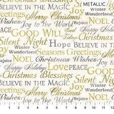 STONEHENGE White Christmas by Linda Ludovico for Northcott Words Neutral Gold # 24204M-11