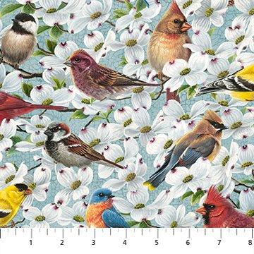 Joys of Spring Allover Birds Light Teal